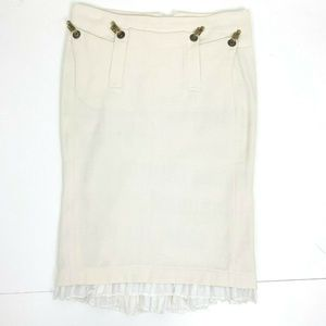 L.A.M.B Cotton Cream Peplum Back Pencil skirt